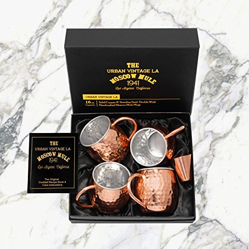 Gift Wrapped Set of 4 Moscow Mule Copper Mugs with Stainless-Steel Lining | Large Gift Box Includes 4 Double Wall Copper Mugs, Shot Glass & Cocktail Recipe Book | Premium, Hammered, Heavy-Duty Cups by Urban Vintage LA (Image #7)