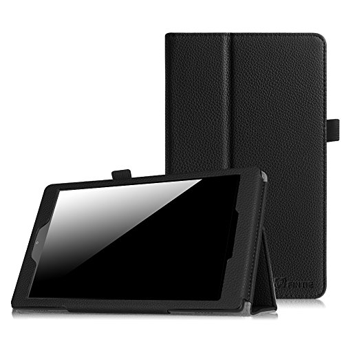 Fintie Folio Case for Amazon Fire HD 8 (Previous Generation - 6th) 2016 Release - Slim Fit Premium Vegan Leather Standing Protective Cover with Auto Wake/Sleep, Black