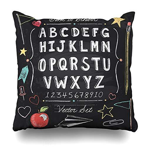 (Pandarllin Throw Pillow Cover Alphabet Chalk Vintage Back School Chalkboard Teacher Apple Cute Doodle Blackboard Cushion Case Home Decor Design Square Size 20 x 20 Inches Pillowcase)