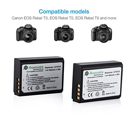 Powerextra 2 Pack Replacement Canon LP E10 74V 1600mAh Li ion Battery together with Charger For Canon EOS Rebel T3 T5 T6 Kiss X50 Kiss X70 EOS 1100D EOS 1200D EOS 1300D Digital SLR CameraCar Charger as Bonus Camera Batteries