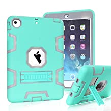 iPad Mini Case, iPad Mini 2 Case, iPad Mini 3 Case,MAKEIT 3in 1 Heavy Duty Protection Kickstand Combo Hybrid Impact Silicone Hard Case Cover for Apple Ipad Mini 1 2 3 (C3-Mint Green/Gray)