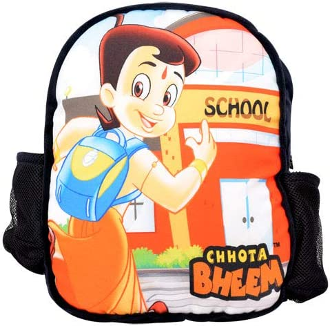 Chhota Bheem Plush School Bag for Kids - Orange Stylish Soft Bag - with 2 Compartments - Back to School Bags for Children