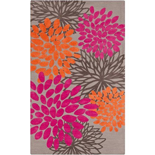 Diva At Home 2' x 3' Fashion Flowers Hot Pink, Gray and Tangerine Orange Super Soft Area Throw Rug