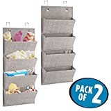 mDesign Soft Fabric Over the Door Hanging Storage Organizer with 4 Large Pockets for Child/Baby Room, Nursery, Playroom - Textured Print - Hooks Included - Pack of 2, Linen
