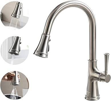 Kitchen Faucet With Pull Down Sprayer Brushed Nickel Oakland Brass Single Handle Kitchen Sink Faucet 1 Hole With 3 Function Sprayer Quick Connect Lead Free Ksk1129
