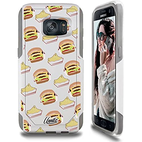 Galaxy S7 Case Unnito [Custom] Dual Layer - Shock Protection [Hybrid Cover] - ( White - Double Burger ) Sales