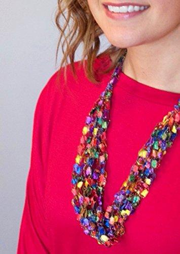 CROCHETLACES Adjustable Soft LIGHTWEIGHT Crochet Yarn Necklace Scarf- - Scarf Trellis