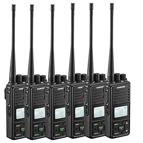 Intercom Indoor (Two Way Radio, SAMCOM FPCN10A GMRS Walkie Talkie 20 Channels Wireless Intercom Group Button Portable Radio,UHF 400-470MHz, 2 Watt,Earpiece,Belt Clip (Pack of 6))