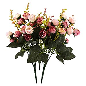 JEDFORE 21 Heads Artificial Silk Rose Dried Flowers Flower Arrangement Fake Bouquet Wedding Home Floral Decor - Pack of 2 (Pink & Coffee) 45
