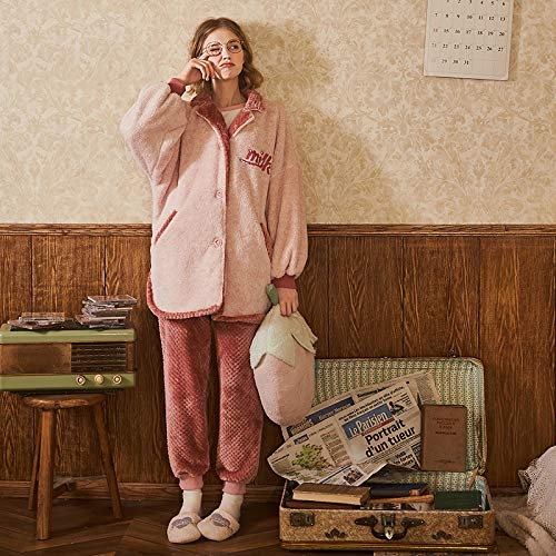 Ropa Mujer Dormir Fresa Solapa Noche Camisones Olliuge Pijamas Conjunto Sudadera Lindo Para Señoras Rebeca Franela Capucha De B Vellón Invierno Coral Con vq6zqtAEWZ