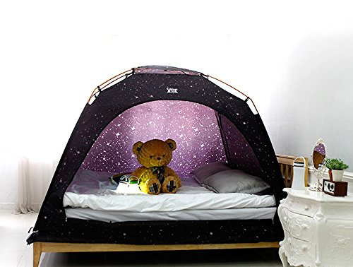 CAMP 365 Child's Indoor Privacy and Play Tent on Bed Sleep Cozy in Drafty Room (Double, Starlight)
