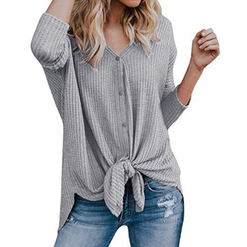 Faionny Women Casual Blouse Loose Knit Tunic Tie Knot Henley Tops Bat Wing Plain Shirts by Faionny