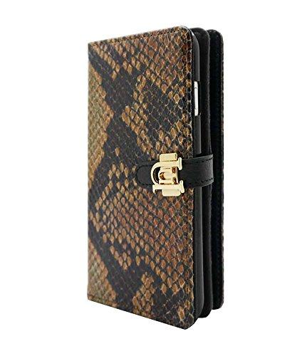 Uunique Luxe Exotic Slider Schlange Tan Folio Wallet Schutzhülle für iPhone 6/6S