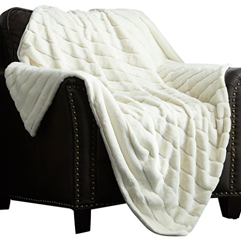 Chic Home Atara Throw Blanket New Faux Fur Collection Cozy Super Soft Ultra Plush Micromink Backing Decorative Channel Quilted Design50  X 60  50 X 60 Beige