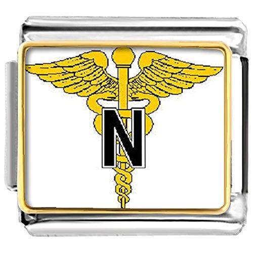 Italian Nurse Golden Angel Wing Caduceus Charms Bracelet Link Jewelry On Sale - Italian Charm Nurse
