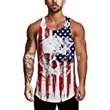 Men's Tank Top Shirt Sleeveless Independence Day Printing Sports for Gym Fitness Bodybuilding Running Jogging (L, White)