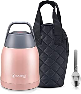[Go Out Quickly]Stainless Steel Travel Food Jar Handle Lid with Spoon - 450/600ml Capacity - Double-Wall Vacuum Insulation Technology Food Storage Container Flask (Pink, 600)