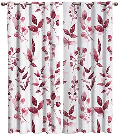 Edwiinsa Watercolor Christmas Winter Holly Plant Kitchen Blackout Curtains Window Drapes Treatment