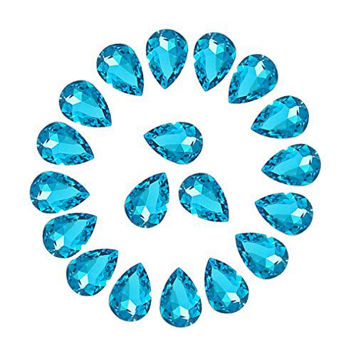 Jyukan DIY Teardrop Crystal AB Resin Rhinestone Pointback Glass Faceted Jewelry Making Craft (50Pcs) ()
