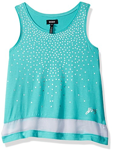 Falling Dot - DKNY Little Girls' Tank Or Cami Shirt, Falling Dots Chiffon Turquoise, 5