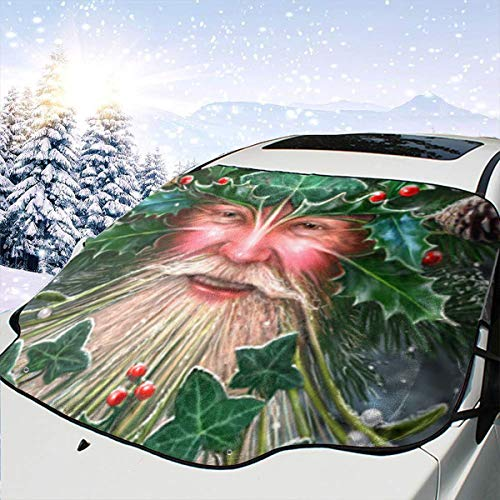 (HFSST Yule Spirit Tree Yuletide Pagan Christmas Themed Pattern Front Windows Cover Windshield Sun Shade Car Decor Sunshade Accessories Auto Outdoor Exterior Ornament Visor Kit for Women Men)