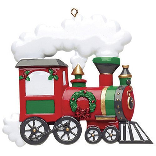 (Personalized Train Christmas Ornament - Traditional Red Express Santa Fe Locomotive Car with Steam Green Wreath - Classic Story Claus Track Toy Grand-kid Child Love Baby's First - Free Customization)