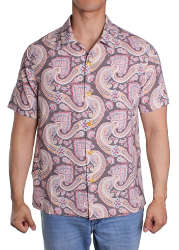 Tommy Bahama Livin La Paisley 100% Silk Camp Shirt (Cola) - Paisley Camp Shirt
