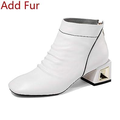 861ec7339 Amazon.com: Fumak Brand Genuine Leather Ankle Boots Women Autumn Winter 2019  Large Size 33-43 Med Heels Shoes Woman 5 cm: Shoes