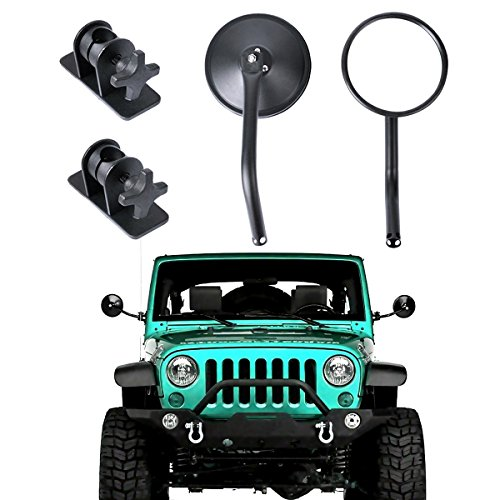 Jeep Wrangler Side Rear View Mirrors, AutoEC Doors Off/On Hinge Round Mirrors Relocation with Adjustable Arms, Fit for Jeep Wrangler JK JKU TJ LJ 1997~2006 2007~2017