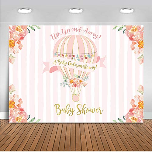 Mehofoto Up Up and Away Baby Shower Backdrop Hot Air Balloon Photography Background 7x5ft Vinyl Pink Hot Air Balloon Baby Shower Party Banner -