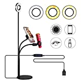 Selfie Ring Light with Cell Phone Holder and Microphone Holder for Live Stream, Flexible Phone Clip Holder with 3 Light Mode & 10 Level Brightness, LED Desk Lamp for Makeup, Recording, Video Calls