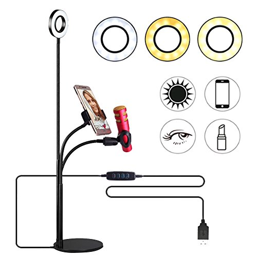 Selfie Ring Light with Cell Phone Holder and Microphone Holder for Live Stream, Flexible Phone Clip Holder with 3 Light Mode & 10 Level Brightness, LED Desk Lamp for Makeup, Recording, Video Calls by Koopower