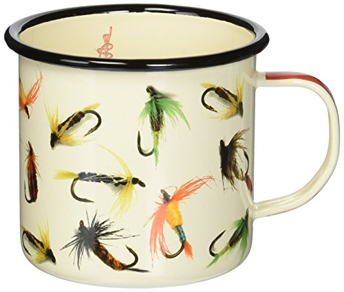 Fishing Fly Art (Hook, Line, & Sinker Sportsman's Camping and Outdoor Enamel Mug)
