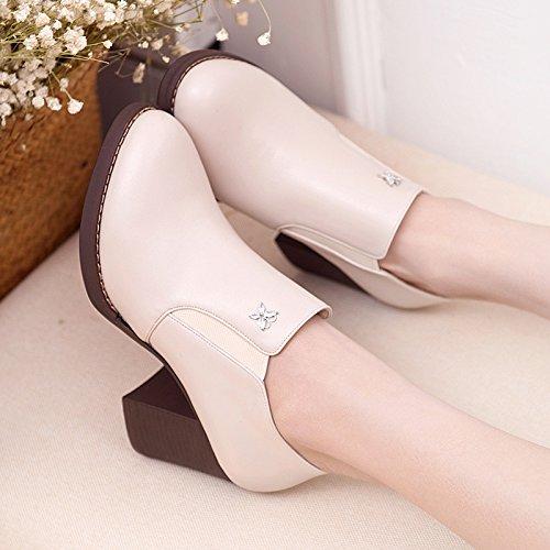 Spring Jqdyl Thick Heel Women'S Apricot Shoes Shoes Deep Band Round Elastic heels High XqqSBI