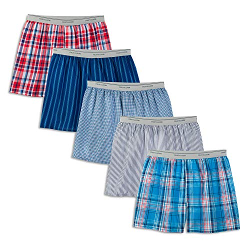Fruit of the Loom Men's Contemporary Plaid and Stripe Boxer, Multi (Exposed Waistband), Large(Pack of 5)