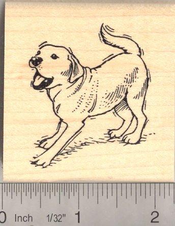 Playful Labrador Retriever Dog Rubber Stamp