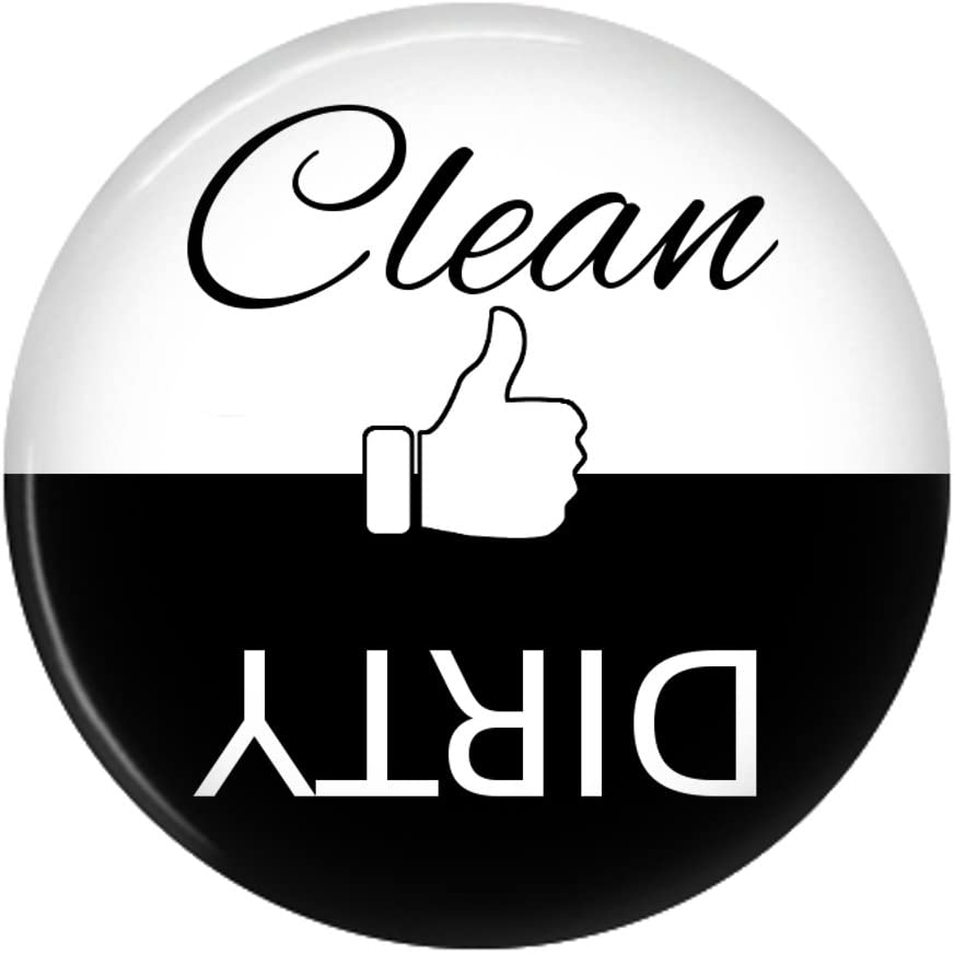 Clean Dirty Dishwasher Magnet Sign Indicator (Black White Thumb)