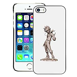 A-type Arte & diseño plástico duro Fundas Cover Cubre Hard Case Cover para iPhone 5 / 5S (Cool Kid Tin Man Grey Character Cgi Japan)