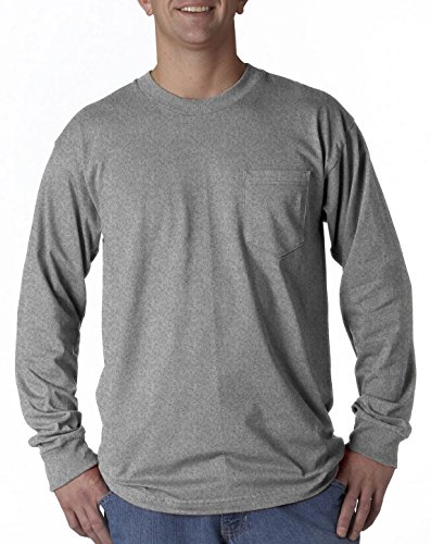 Bayside 8100 Pocket Long-Sleeve Tee Dark Ash Large ()