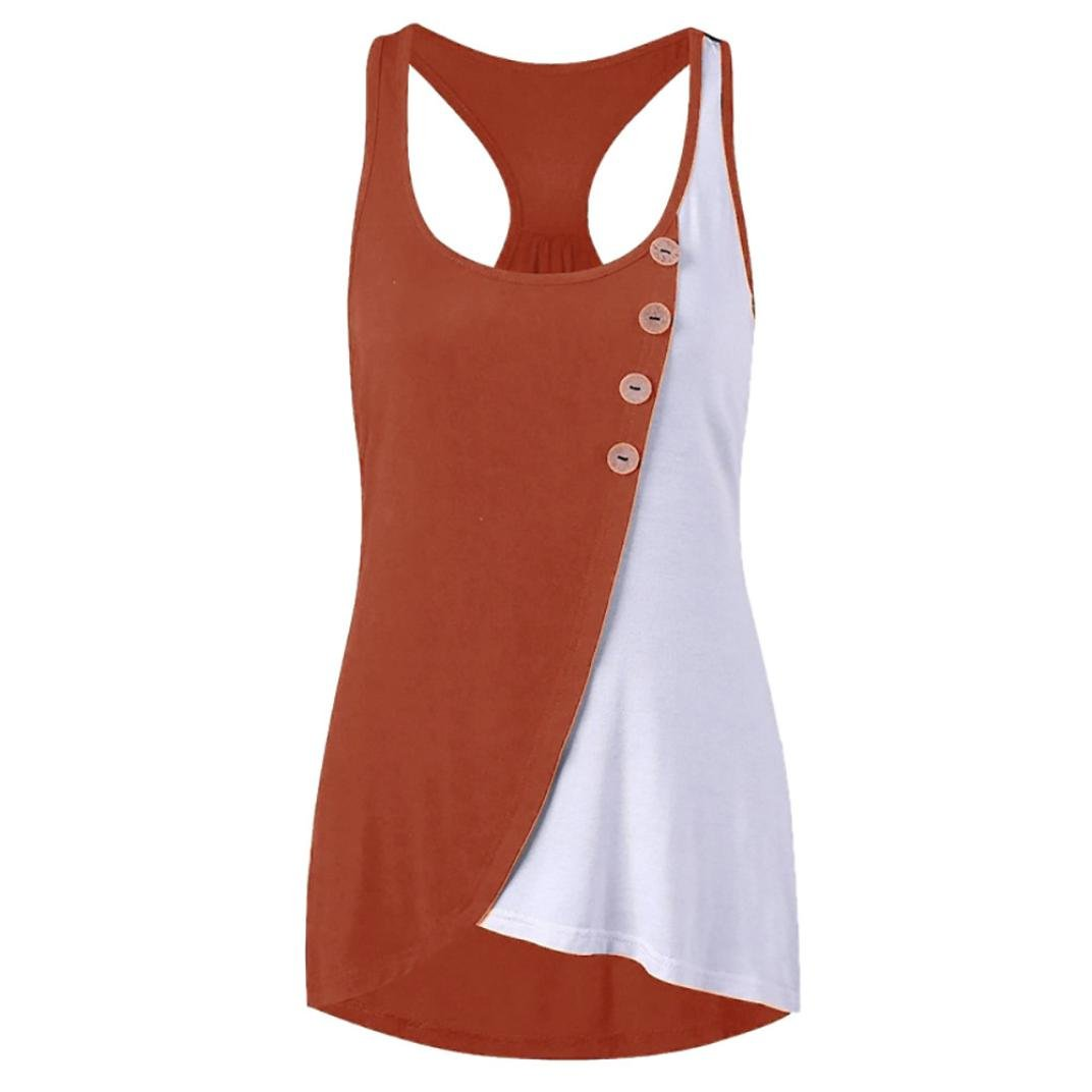 Vincent&July Women Sleeveless Tank Tops Summer Casual Patchwork T-Shirt Blouse (XX-Large, Orange)
