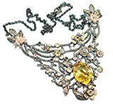 SilverFury Citrine Women 925 Sterling Silver Necklace - FREE GIFT BOX