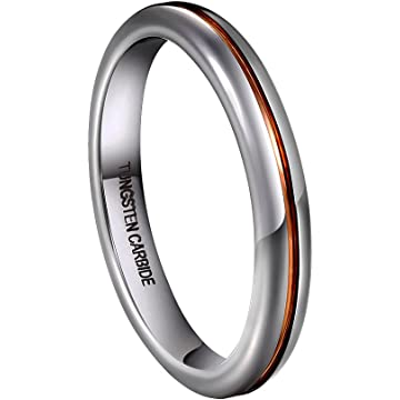 TUSEN JEWELRY 3mm Womens Wedding Band Domed Tungsten Carbide Rings Rose-Gold-Plated Tone Groove in The Center