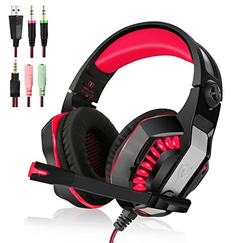 Price comparison product image GM-2 Stereo Gaming Headset for PS4, Bass Over-Ear Headphones with Mic and LED Lights for Laptop, PC, Computer, Smartphones (Red)