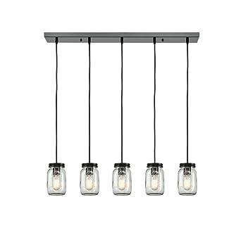 Eul Mason Jar Light Fixture 5 Light Linear Chandelier Glass Hanging
