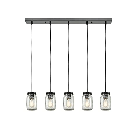 EUL Mason Jar Light Fixture Light Linear Chandelier Glass Hanging - Kitchen pendant lighting amazon
