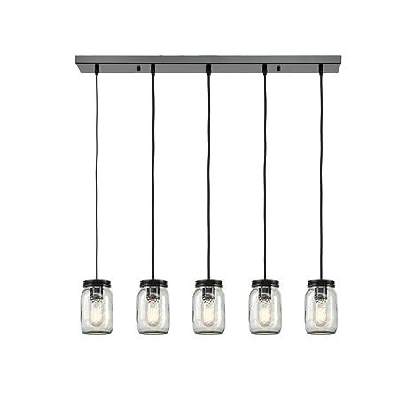 EUL Mason Jar Light Fixture Light Linear Chandelier Glass Hanging - Kitchen pendant lighting amazon