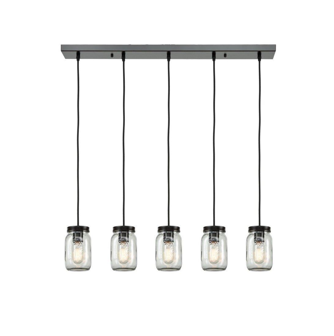 EUL Mason Jar Light Fixture 5-Light Linear Chandelier