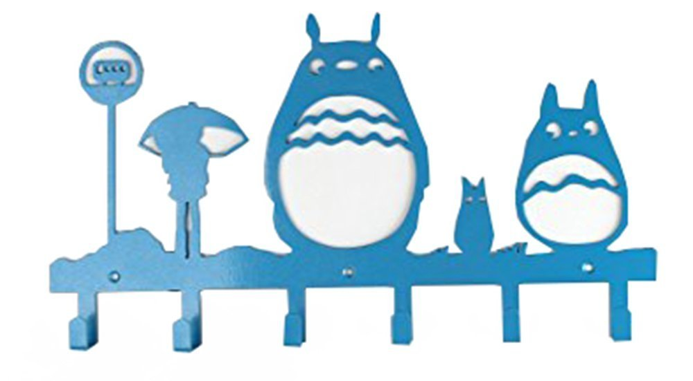 WGW Animal Cat Girl Pattern Classic Simple Metal Bag Hanger Coat Rack Clothing Heavy Hooks Blue