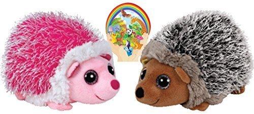 Ty Beanie Babies Pink MRS. PRICKLY and Brown SPIKE Hedgehog Couple with Bonus Animals (Spike Hedgehog)