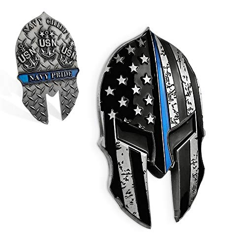 United States Navy Thin Blue Line Challenge Coin Helmet Shape Military Collection Gift ()